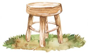 hand drawn stool sitting in grass