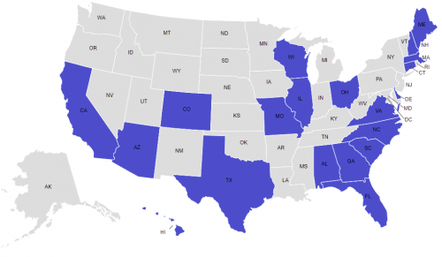 Map of states with dashboards
