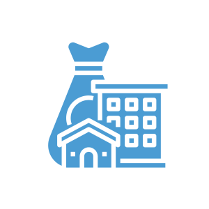 """A small icon with two buildings in front of a bag of money to depict """"capital""""."""