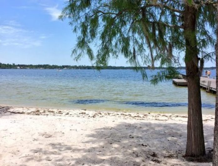 View of white lake from the beach