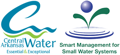 Logos of our partners for this project. Central Arkansas Water and the EPA Smart Management For Small Water Systems.